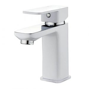 Sink Mixer Tap With A Slim And Square Design. Made Of Brass And Finished In Matt White. Belfry Bathroom