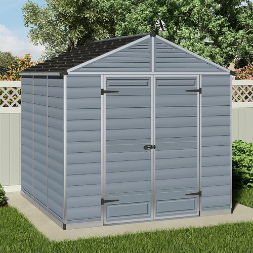 Skylight 8 ft. W x 8 ft. D Plastic Garden Shed Palram Colour: Grey