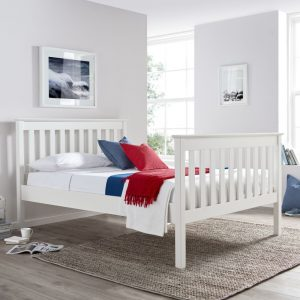 Solid Pine Wooden Bed Frame 4ft Small Double Lisbon White Finish