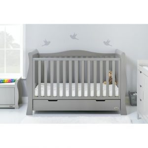Stamford Luxe Cot Bed with Mattress Obaby Colour: Warm Grey