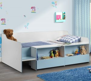 Stella Blue and White Wooden Kids Low Sleeper Cabin Storage Bed Frame - 3ft Single