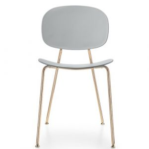 Tondina Dining Chair Infiniti Frame Colour: Almond, Leg Colour: Copper