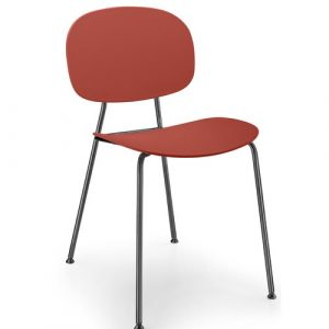 Tondina Dining Chair Infiniti Frame Colour: Chimney Red, Leg Colour: Black Chrome
