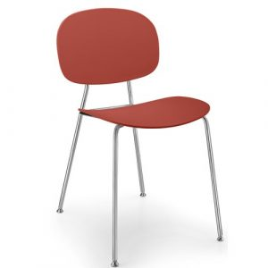 Tondina Dining Chair Infiniti Frame Colour: Chimney Red, Leg Colour: Chrome