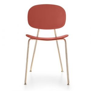 Tondina Dining Chair Infiniti Frame Colour: Chimney Red, Leg Colour: Copper