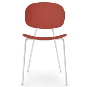 Tondina Dining Chair Infiniti Frame Colour: Chimney Red, Leg Colour: White