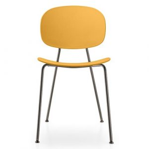 Tondina Dining Chair Infiniti Frame Colour: Peach, Leg Colour: Black Chrome