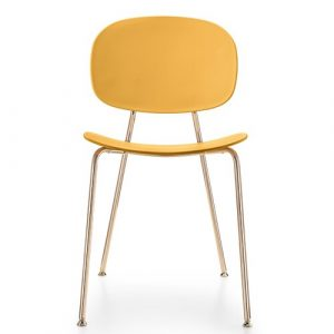 Tondina Dining Chair Infiniti Frame Colour: Peach, Leg Colour: Copper