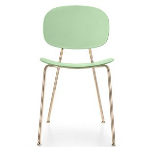 Tondina Dining Chair Infiniti Frame Colour: Water Green, Leg Colour: Copper