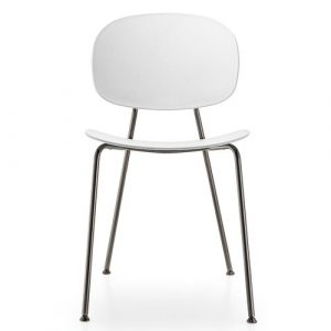 Tondina Dining Chair Infiniti Frame Colour: White, Leg Colour: Black Chrome