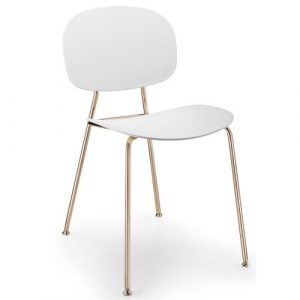 Tondina Dining Chair Infiniti Frame Colour: White, Leg Colour: Copper
