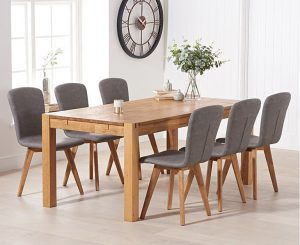 Verona 150cm Solid Oak Dining Table with Tivoli Faux Leather Chairs