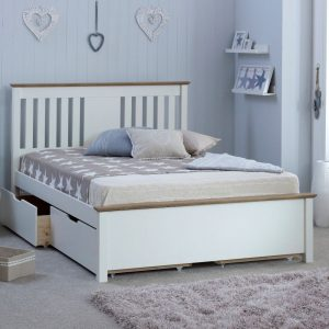 Wooden Bed Frame with 2 Underbed Storage Drawers 4ft6 Double Chester White and Oak