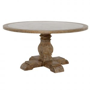 Woolton 152cm Round Dining Table, Mid Burnt Oak and Bluestone