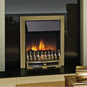 Wynford Optiflame Electric Fireplace Dimplex Finish: Antique Brass