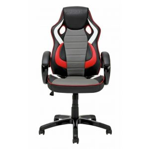 X-Rocker PU Leather Effect Adjustable Height Gaming Chair - Black