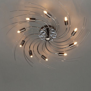 Yarrow Spiral Brushed Black Chrome effect 10 Lamp Ceiling light