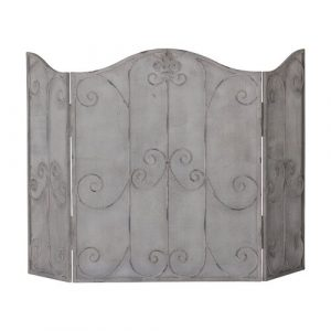 1 Panel Steel Fireplace Screen Fleur De Lis Living