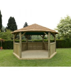 4.9m x 4.3m Wooden Gazebo with Thatched Roof Dakota Fields Colour (Roof): Country Thatch/Cream Roof Lining