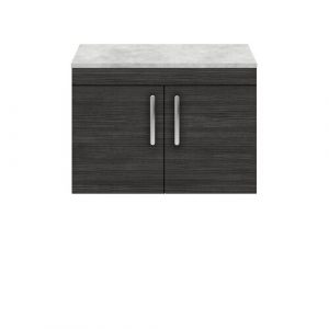800Mm Wall Mounted Single Bathroom Vanity Base Only in Natural Oak Nuie Base Finish: Grey/Black