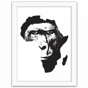 'An Illustration of a Gorilla Against The Background of Africa' - Picture Frame Graphic Art Print on Paper Latitude Run Size: 100cm H x 70cm W x 3cm D