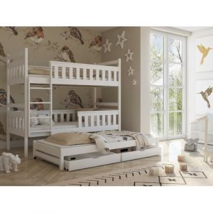 Areli Single (3') Triple Sleeper Bunk Bed with Trundle Mack + Milo Colour (Bed Frame): White, Ladder Orientation: Left