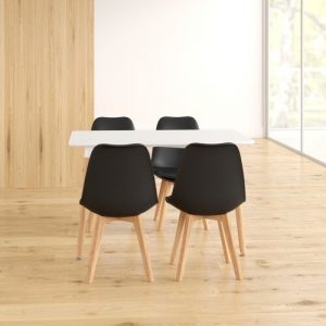 Arlo Dining Set with 4 Chairs Fjørde & Co Chair Colour: Black