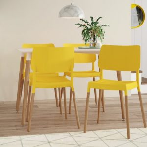 Arlo Dining Set with 4 Chairs Fjørde & Co Chair Colour: Yellow
