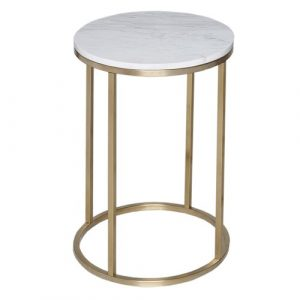 Astra Side Table Wrought Studio Finish: Marble / Brass