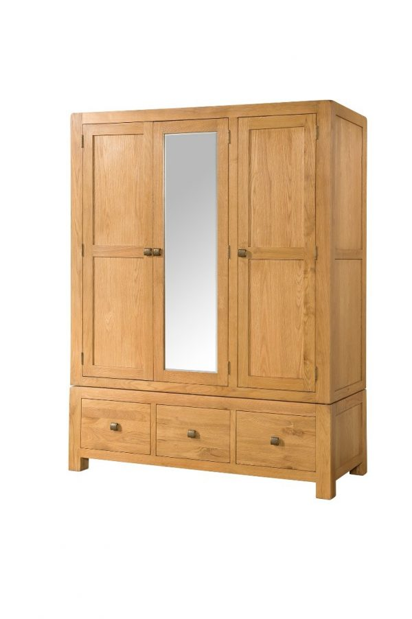 Avalon Oak Triple Wardrobe with 3 Drawers and Mirror