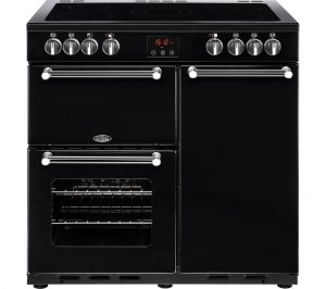 BELLING Kensington 90E Electric Ceramic Range Cooker - Black & Chrome, Black