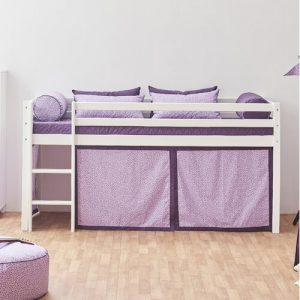 Basic Mid Sleeper Bed with Beautiful Bloom Curtain Hoppekids Bed surface area: 90cm x 200cm