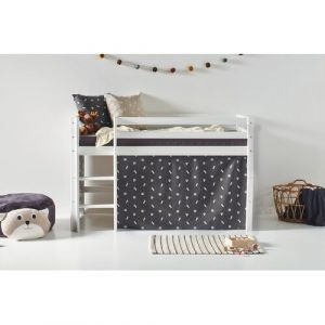 Basic Mid Sleeper Bed with PETS Granite Grey Curtain Hoppekids Configuration: Modifiable, Size: European Toddler (70 x 160 cm)