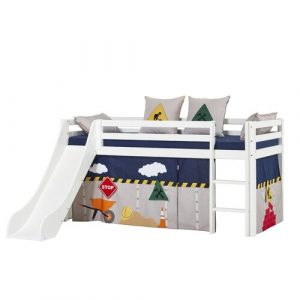 Basic Mid Sleeper Bed with Slide and Construction Curtain Hoppekids Bed Size: 90cm x 200cm