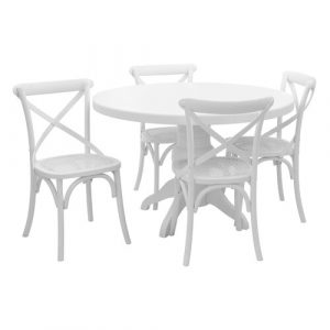 Baume Dining Set with 4 Chairs Fleur De Lis Living Colour: White Wash