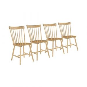 Bethany Solid Wood Dining Chair (Set of 4) Fernleaf Colour: Oak