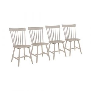 Bethany Solid Wood Dining Chair (Set of 4) Fernleaf Colour: Stone Grey