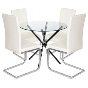 Bilson Folding Dining Set with 4 Chairs Metro Lane Colour (Table Base): Black, Colour (Chair): Off White