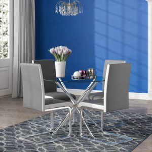Bilson Folding Dining Set with 4 Chairs Metro Lane Colour (Table Base): Chrome, Colour (Chair): Grey/White