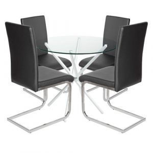 Bilson Folding Dining Set with 4 Chairs Metro Lane Colour (Table Base): White, Colour (Chair): Black