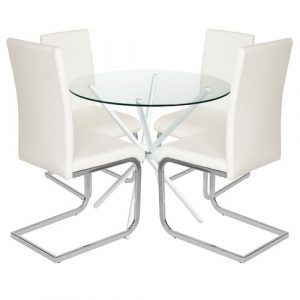 Bilson Folding Dining Set with 4 Chairs Metro Lane Colour (Table Base): White, Colour (Chair): Off White