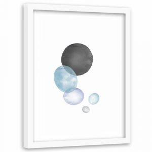 'Black and Blue Circles' - Picture Frame Graphic Art Print on Paper Norden Home