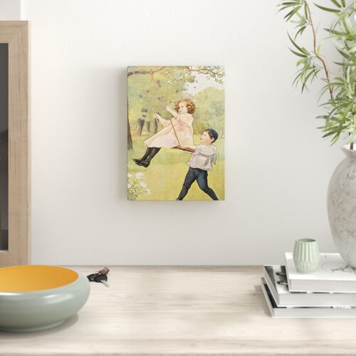 'Book Illustration Depicting a Boy Pushing a Girl on a Swing' by Corbis - Picture Frame Painting Art Prints Lily Manor Format: Wrapped Canvas, Size: 8