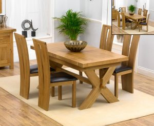 Bordeaux 160cm Solid Oak Extending Dining Table with Montreal Chairs - Grey, 4 Chairs