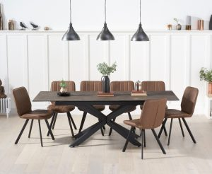 Boston 180cm Mink Ceramic Extending Dining Table with Dexter Faux Leather Chairs - Brown, 6 Chairs