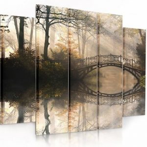 Bridge in the Park - 5 Piece Wrapped Canvas Graphic Art Print Set Feeby Size: 100 cm H x 150 cm W x 3 cm D
