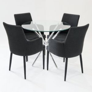 Broderick Circular Dining Set with 4 Chairs Metro Lane Colour (Table Base): Chrome, Colour (Chair): Black