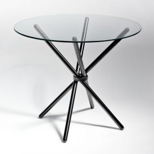 Broderick Circular Dining Set with 4 Chairs Metro Lane Colour (Table Base): Chrome, Colour (Chair): Charcoal/Yellow