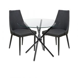 Brookhn Circular Dining Set with 2 Chairs Metro Lane Colour (Table Base): Black, Colour (Chair): Charcoal