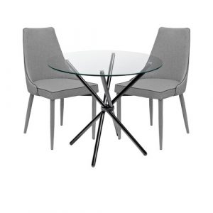 Brookhn Circular Dining Set with 2 Chairs Metro Lane Colour (Table Base): Black, Colour (Chair): Grey